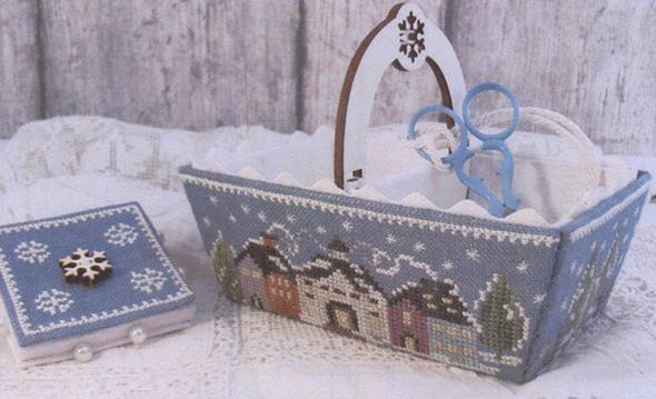 Winter Days Sewing Basket (incl. handle, buttons and silk thread